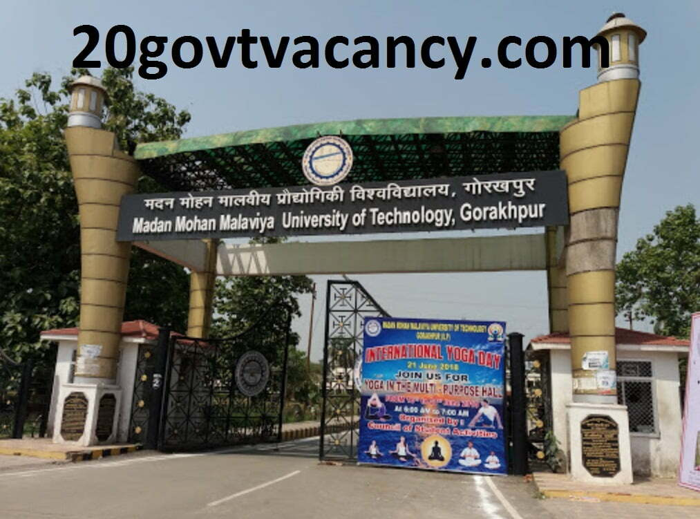 MMMUT Gorakhpur Recruitment 2020 Jobs In Madan Mohan Malaviya University of Technology, Gorakhpur Uttar Pradesh